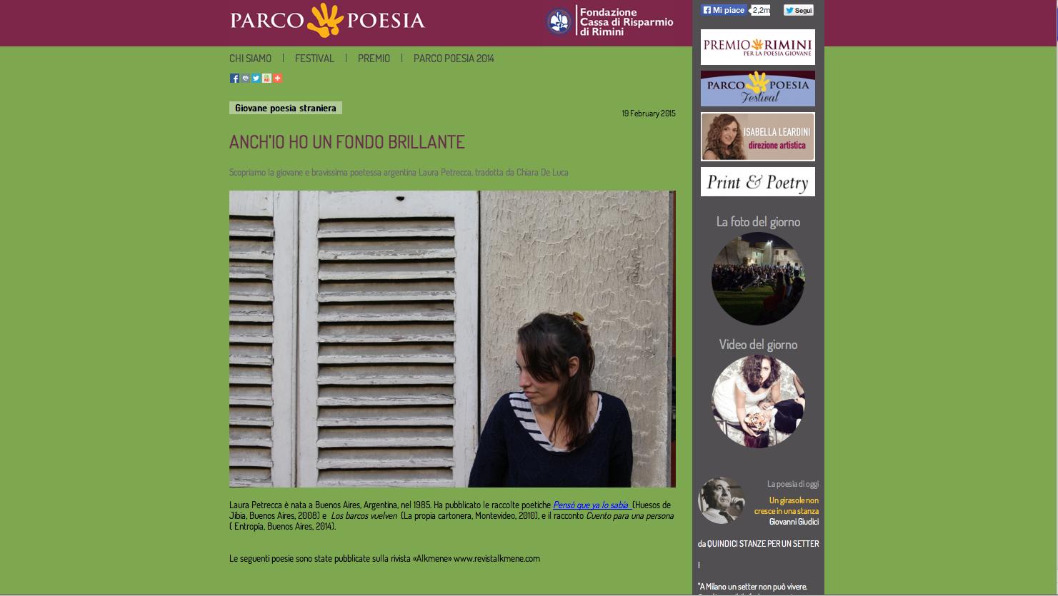 Laura Petrecca sul sito di Parco Poesia