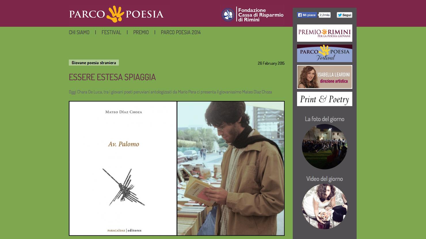 Mateo Díaz Choza sul sito di Parco Poesia
